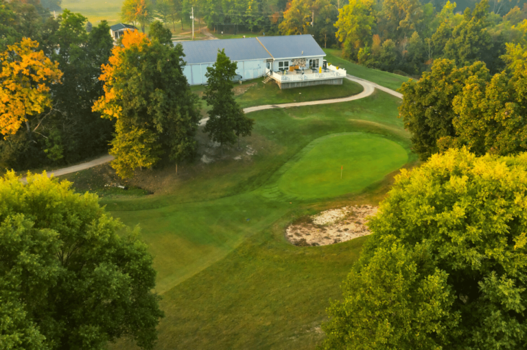 Aerial shot of hole 9 and the clubhouse