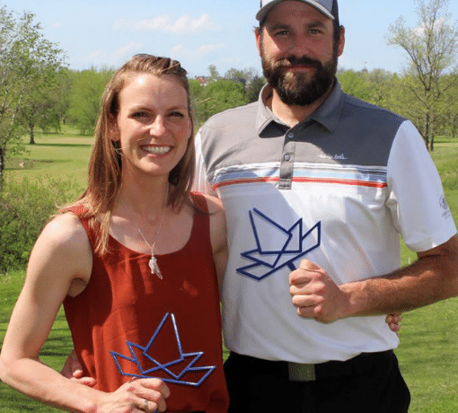 Joe and Jenna Gorzeman, the owners of Kingswell Glen, at hole 1 on opening day 2020.